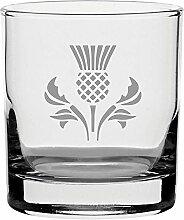 raditionellen Whisky Glas mit Schottische Distel