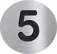 Radius Hausnummer 5, edelstahl schwarz Ø10cm