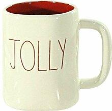 Rae Dunn Jolly Weihnachtstasse mit roter