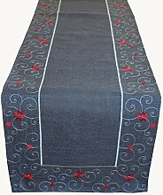 Raebel Tischläufer dunkelgrau rot Stickerei