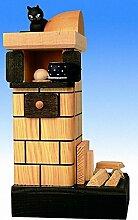 Räucherfigur Kachelofen, natur-rauchend, mit Holz