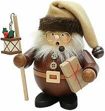 Räuchermännchen Weihnachtsmann mit Laterne natur