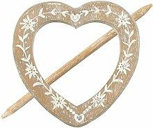 Raffhalter Gardinenspange Holz Herz mit Gravur und