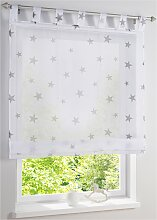 Raffrollo Sterne, weiß (H/B: 140/120 cm)