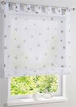 Raffrollo Sterne, weiß (H/B: 140/60 cm)
