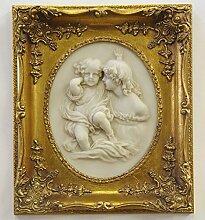 Rahmen Bild Tafel Holz Resin Engel Kinder Dekoration Oval