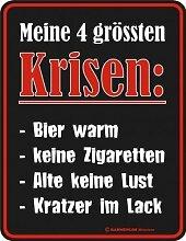 Rahmenlos® Fun Schild - Krisen Bier warm, keine...