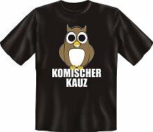 Rahmenlos Fun-T-Shirt: komischer Kauz - Geschenkidee - 100% Baumwolle - Top Qualität , Farbe:mehrfarbig;Größe:L