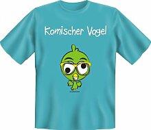 Rahmenlos Fun-T-Shirt: komischer Vogel - Geschenkidee - 100% Baumwolle - Top Qualität , Farbe:mehrfarbig;Größe:M