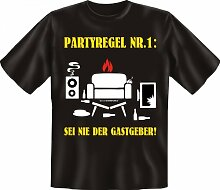Rahmenlos Fun-T-Shirt: Partyregel - Geschenkidee - 100% Baumwolle - Top Qualität , Farbe:mehrfarbig;Größe:XL
