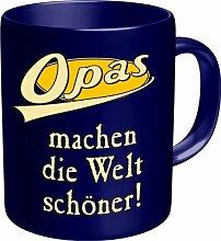 Rahmenlos Tasse: Opas machen die Welt schöner - Geschenkidee - Top Qualität - Kaffee, Tee, Glühwein zum Totlachen