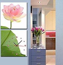 rahmenlose dekoriert wandmalereien wanduhr rosa lotus kunst Leinwand gemalt landschaft wanduhr , 60*60cm