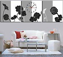 rahmenlose Dekoriert Wanduhr schwarz und weiß grau lotus wandbilder Kunst Leinwand Gemalt Wanduhr , 50*50cm