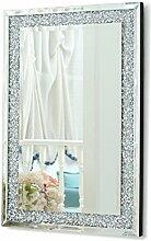 Rahmenloser Wandspiegel angeschrägte Ecken Dreiergruppe Rechtecke mit glitzernden künstlich hergestellte Diamanten Wandmontage Spiegel für das Wohnzimmer (90 x 60 cm)