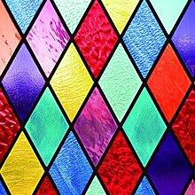 RAIN QUEEN Fensterfolie 40*60cm statische Aufkleber Glasdekorfolie Milchglasfolie Sichtschutzfolie blickdicht Folie Selbstklebend bunt (40*60cm, I#)