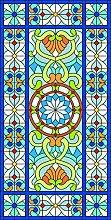 RAIN QUEEN Fensterfolie statische Aufkleber Glasdekorfolie Milchglasfolie Sichtschutzfolie blickdicht Folie Selbstklebend bunt Kirche Pfau (45*90cm, os-67)