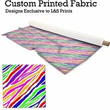 Rainbow Farbe Zebra Animal Print Design Digital Print Strick 28Gauge Leiter Widerstehen Stoff 149,9cm Breite hergestellt in Yorkshire