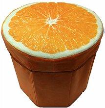 Rainbow Fox 31x 31 x 30 cm Kreative Stump Aufbewahrungsbox Stump Truhen Faltbarer Sitzhocker Belastbar bis 150 kg Fußbank Sitzbank Aufbewahrungsbox (orange)
