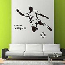 """Rainbow Fox Abnehmbarer PVC Fußball-Wandaufkleber """"We are the Champions"""", Aufkleber, Tapete, für Kinderzimmer schwarz"""