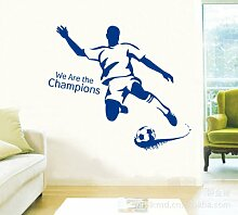 "Rainbow Fox Abnehmbarer PVC Fußball-Wandaufkleber ""We are the Champions"", Aufkleber, Tapete, für Kinderzimmer blau"