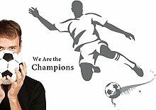 "Rainbow Fox Abnehmbarer PVC Fußball-Wandaufkleber ""We are the Champions"", Aufkleber, Tapete, für Kinderzimmer grau"