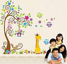 Rainbow Fox Dekorative Wand und Buchstaben aus Holz Baum Blume bunt niedlichen Eulen Löwe Hirsch Wandsticker, Kinderzimmer Metermaß Abnehmbare Wandsticker/Aufkleber/Wanddekoration