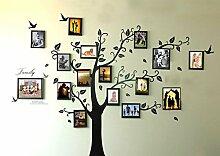 Rainbow Fox groß schwarz Bilderrahmen 8Bilder enthalten auf der Äste und Vogelmotiv (180cm * 250cm) Art Wandbild Aufkleber und 180Aufkleber für Wohnzimmer, für Kinder Schlafzimmer 16pcs frame tree