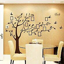 Rainbow Fox groß schwarz Bilderrahmen 8Bilder enthalten auf der Äste und Vogelmotiv (180cm * 250cm) Art Wandbild Aufkleber und 180Aufkleber für Wohnzimmer, für Kinder Schlafzimmer FRAME TREE-BROWN