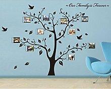 Rainbow Fox groß schwarz Bilderrahmen 8Bilder enthalten auf der Äste und Vogelmotiv (180cm * 250cm) Art Wandbild Aufkleber und 180Aufkleber für Wohnzimmer, für Kinder Schlafzimmer BLACK TREE FRAME