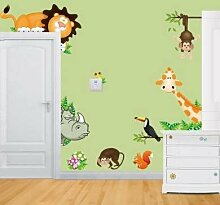 Rainbow Fox Jungle Waldtier Affe Comic-Tiere Niedlichen Löwen Affen Giraffen Nashorn Wandsticker, Kinderzimmer Babyzimmer Entfernbare Wandtattoos Wandbilder