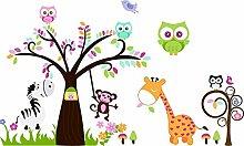 Rainbow Fox Jungle Waldtier Affe, Eichh?rnchen und Eule Schaukel Spiel auf bunten bl?ttern Baum Wandtattoo Wandaufkleber