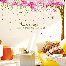 Rainbow Fox Large Pink Sakura Flower Cherry Blossom Tree Wall Sticker Decals PVC Removable Wall Decal for Nursery Girls and Boys Children's Bedroom (XY1096) by Rainbow Fox