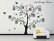 Rainbow Fox PVC Bild Fotorahmen Baum Wandsticker Bilderrahmen Speicher Baum Vine Zweig Abnehmbare , die auf der Baum Zweige und Soaring Vogel-Kunst-Wand-Aufkleber für Wohnzimmer, Schlafzimmer für Kinder (Green)