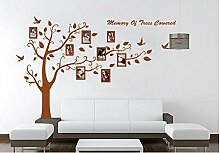 Rainbow Fox Regenbogen Fox PVC Riesig Schwarz Bilderrahmen Speicher Baum Vine Zweig Abnehmbare Schöne große schwarze Bilderrahmen , die auf der Baum Zweige und Soaring Vogel-Kunst-Wand-Aufkleber und Familie-Beschriftung Abziehbilder für Wohnzimmer, Schlafzimmer für Kinder (Schwarz) (Brown)