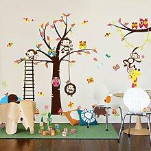 Rainbow Fox Wald Tiere und Eulen Spiel auf bunten Baum Abnehmbare Wandaufkleber Home Decor Aufkleber für Kinderzimmer Kindergarten ZY1213