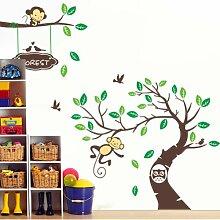 Rainbow Fox Wald Tiere und Eulen Spiel auf bunten Baum Abnehmbare Wandaufkleber Home Decor Aufkleber für Kinderzimmer Kindergarten ZY1207