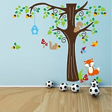 Rainbow Fox Wald Tiere und Eulen Spiel auf bunten Baum Abnehmbare Wandaufkleber Home Decor Aufkleber für Kinderzimmer Kindergarten ZY1204