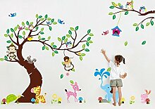 Rainbow Fox Wandtattoo Wandsticker XXL Aufkleber Sticker Kinderzimmer Wald Baum