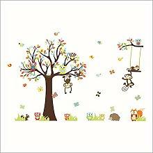 Rainbow Fox Weihnachten Wandabziehbilder Sankt und Eule Wand-Aufkleber Weihnachtsgeschenke entfernbarer Weihnachtsfensterdekoration DIY Wand-Aufkleber für Baumschule / Kinderzimmer / Wohnzimmer (Zoo Baum)