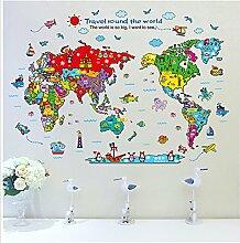 Rainbow Fox Welt Karte Mauer Aufkleber Karikatur Tier Stil Kindergarten Kinder Mauer Aufkleber Abziehbilder (XH9261)