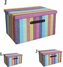 Rainbow klappbar Papier Stroh Stoff Kleidung Aufbewahrungskorb Mülleimer Toy Box Organizer mit Deckel für CDs, Bücher und mehr, Jumbo