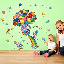 Rainbow Luftballons Elefanten Bär Tiere Blumen Wand Aufkleber Home Aufkleber PVC Wandmalereien, Vinyl, Papier, House Dekoration Tapete Wohnzimmer Schlafzimmer Küche Kunst Bild DIY für Kinder Kinderzimmer Baby