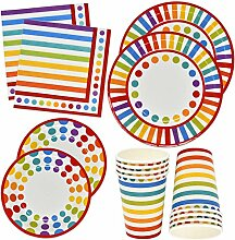 Rainbow Party Supplies Geschirr-Set, 30