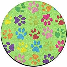 Rainbow Paw rund Boden Teppich Fußmatten für Esszimmer Schlafzimmer Küche Badezimmer Balkon