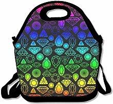 Rainbow Teal Diamonds Lunch Bag Tote Handbag