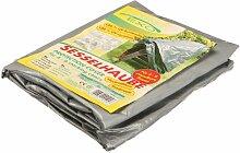 Rainexo Abdeckplane für Gartenmöbel / Wetterschutzhaube hochreißfest silber/grau für 4 stapelbare Sessel 0.65 x 1.15 x 0.68 m
