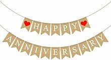 Rainlemon Jute Jute Banner Happy Anniversary Party