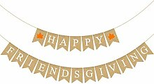 Rainlemon Jute Jute-Banner Happy Friendsgiving mit