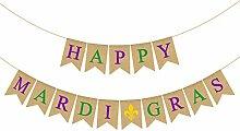 Rainlemon Jute Jute-Girlande Happy Mardi Gras