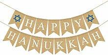 Rainlemon Jute Jute, Happy Hanukkah Banner